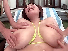 Lotion massage with Big boobs